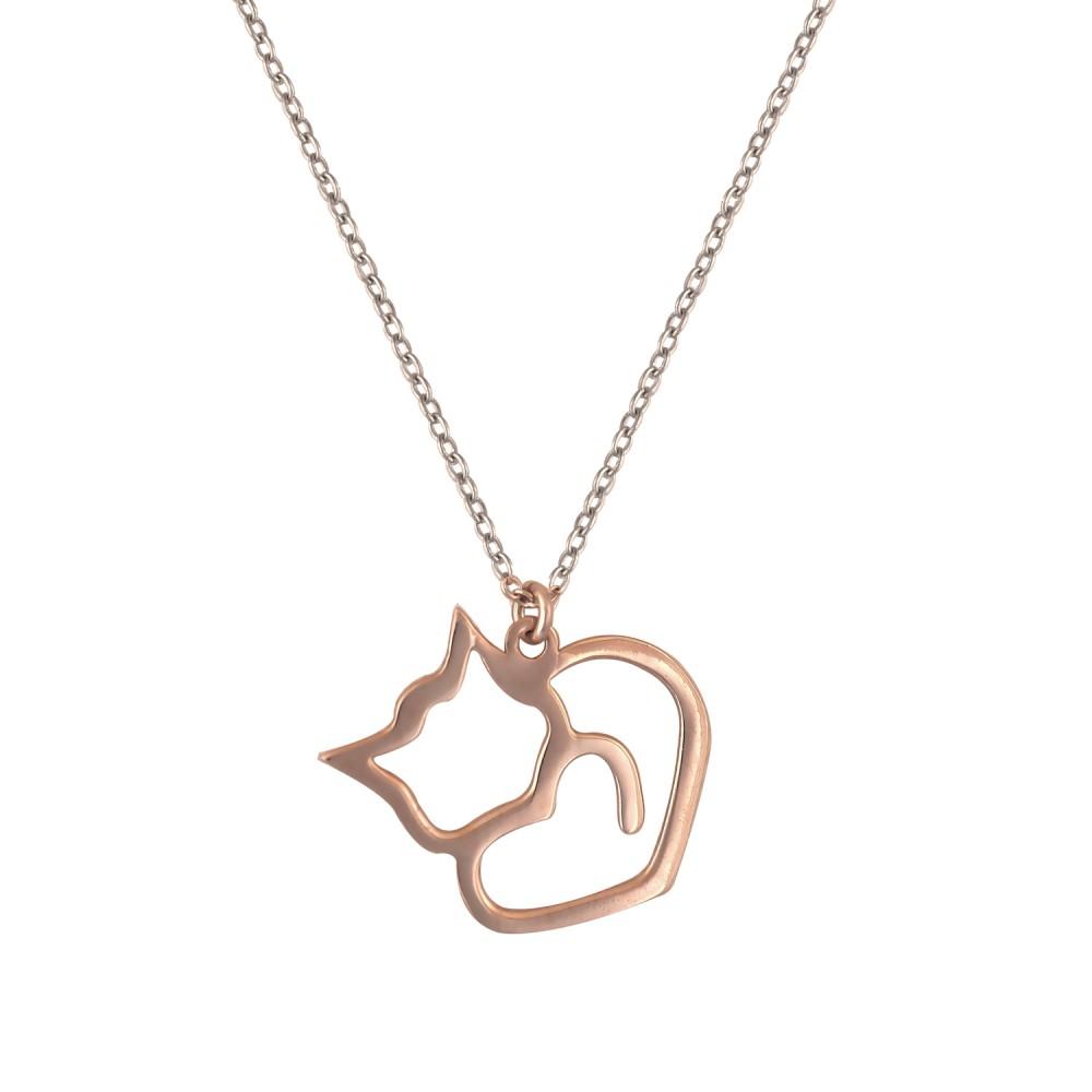 Ασημένιο Κολιέ Love My Cat
