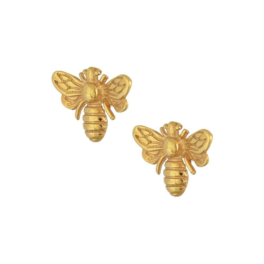 Ασημένια Σκουλαρίκια Μέλισσα